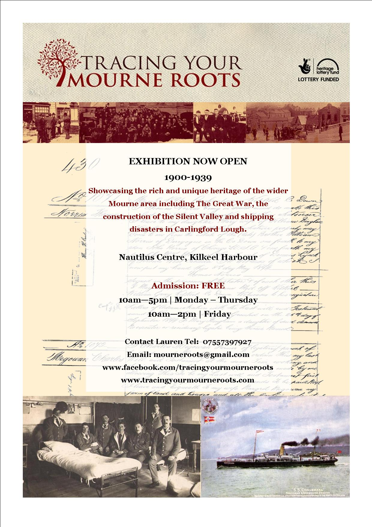 Leaflet to advertise the second TYMR exhibition which looks at life in Mourne between 1900 and 1939