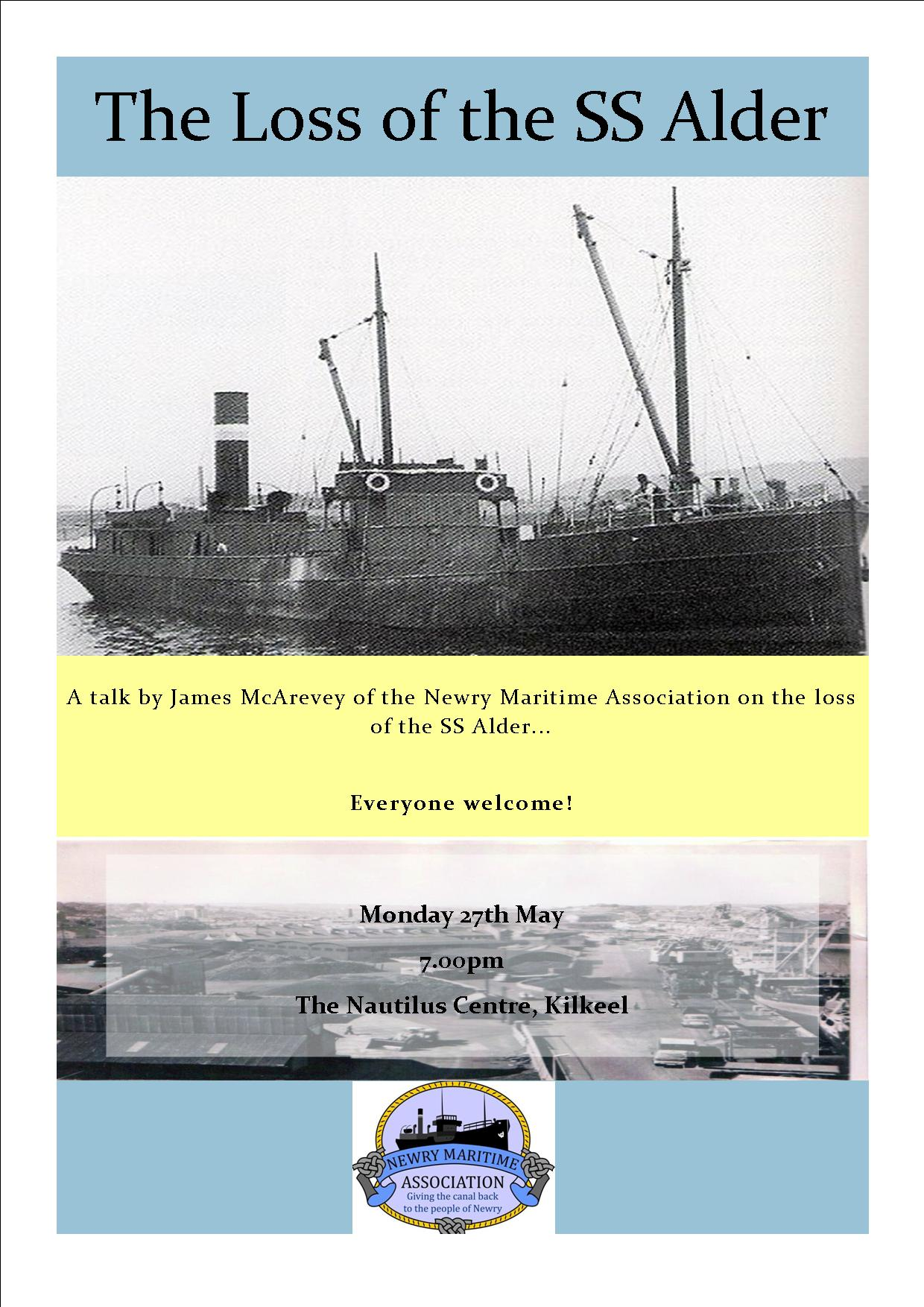 Loss of the SS Alder poster for an event which Tracing Your Mourne Roots helped organise