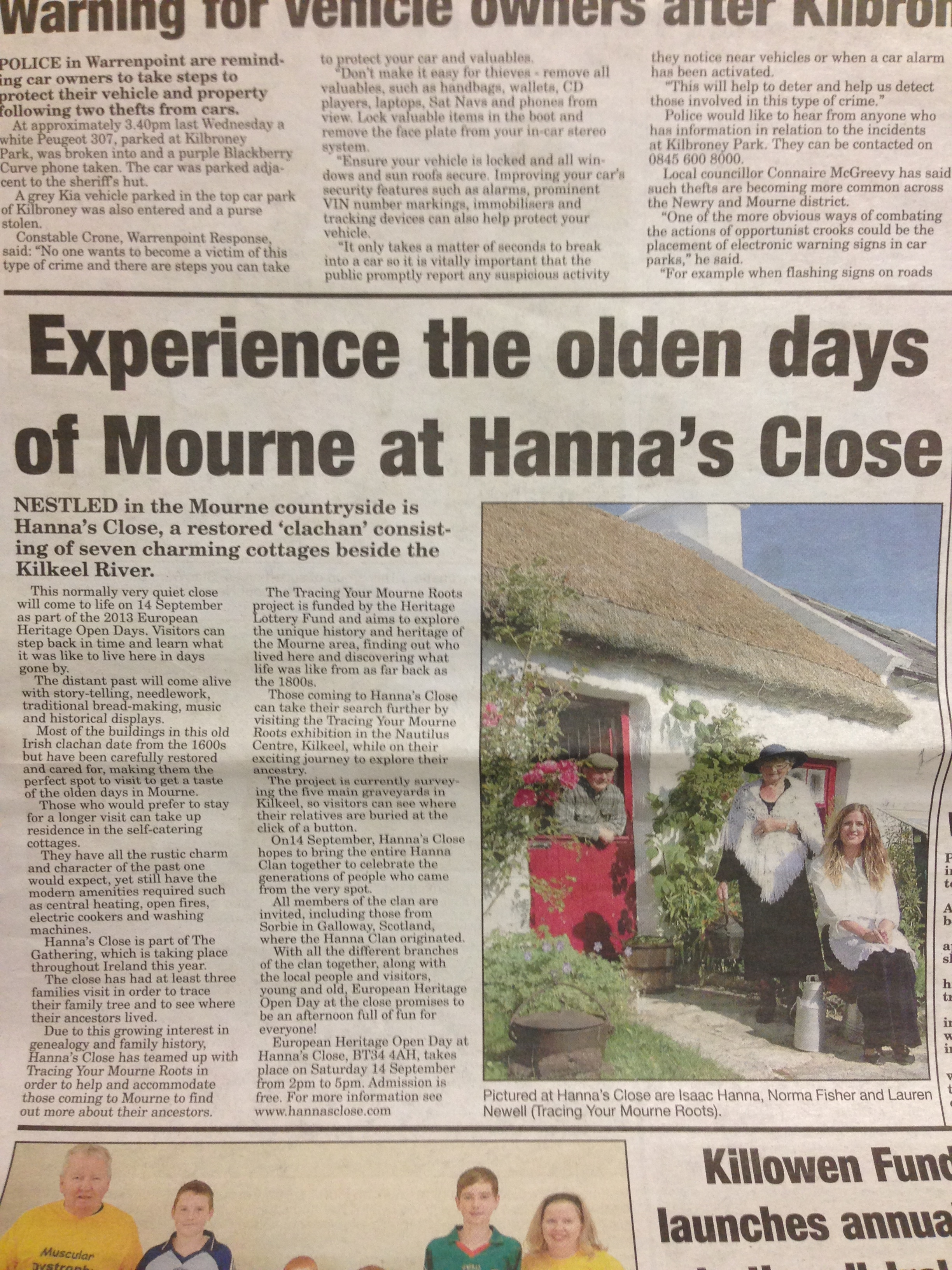 Press release in local paper The Mourne Observer to promote EHODNI with Hanna's Close in September