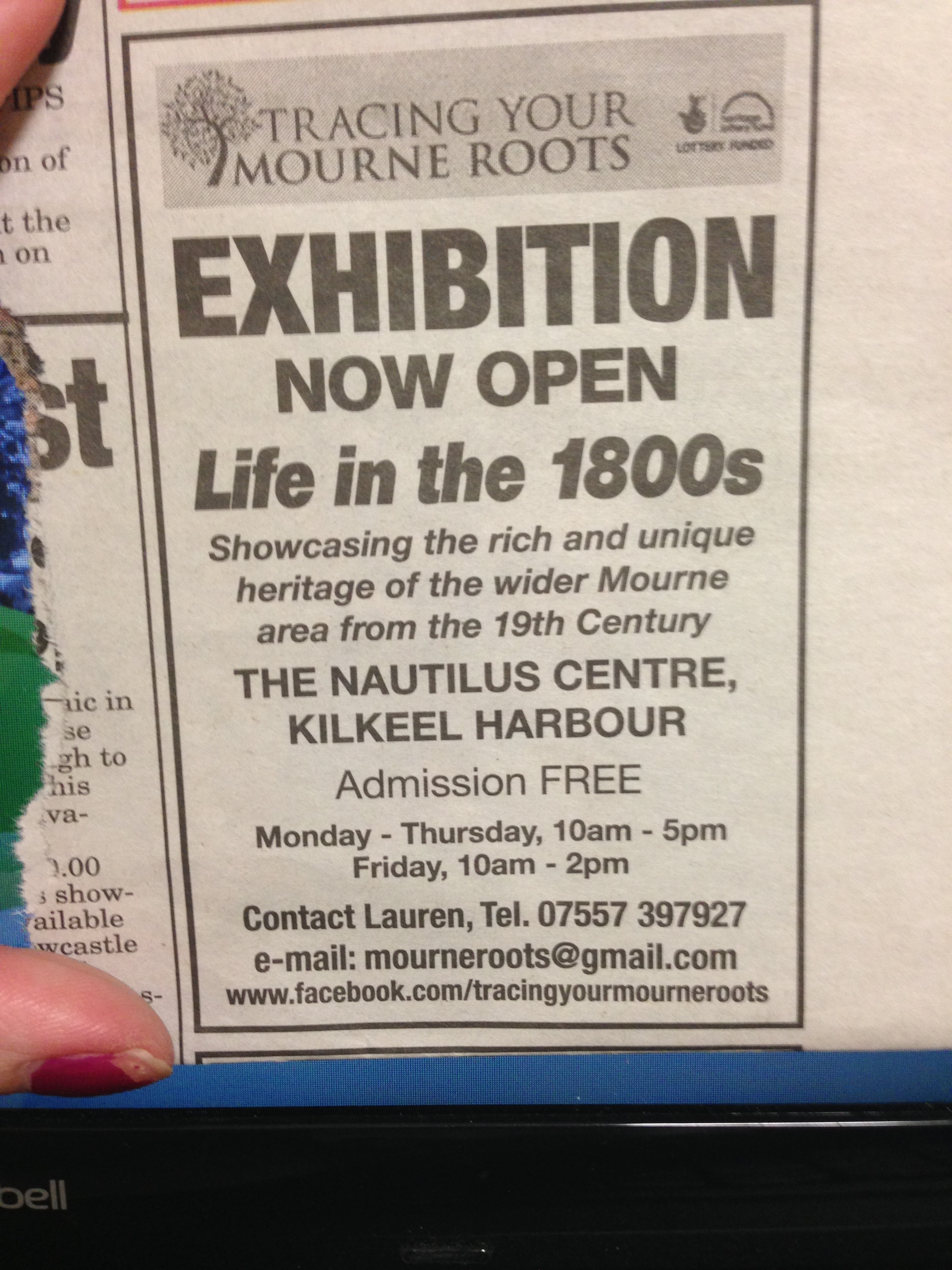 Publiscising the new exhibition in the Mourne Observer