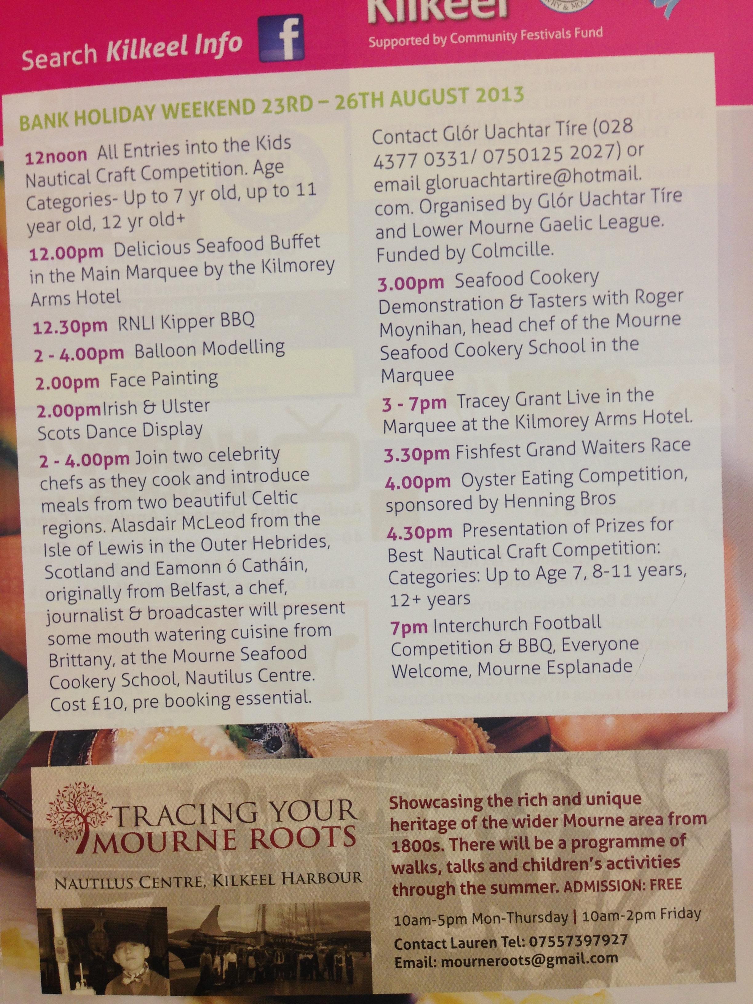 FishFest leaflet in which TYMR took part, August 2013