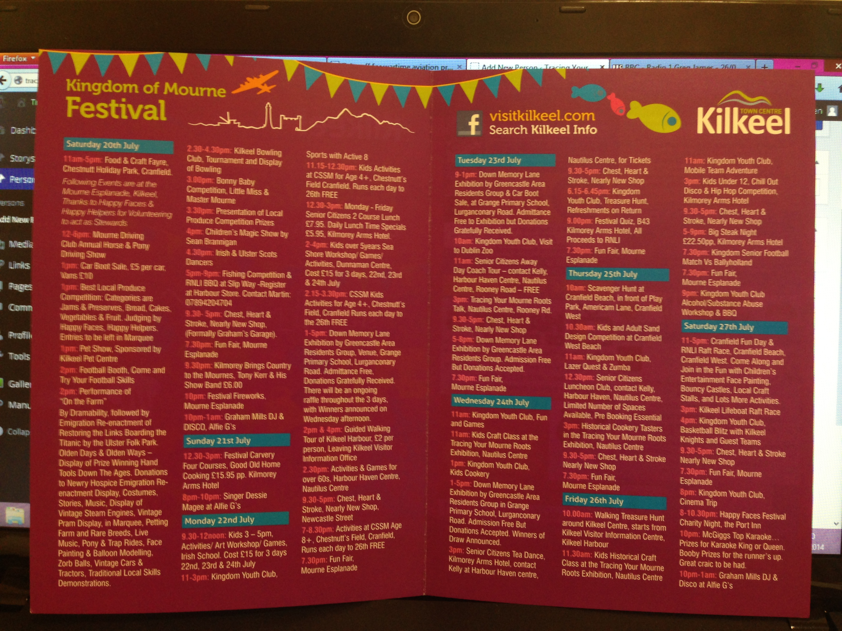 Kingdom of Mourne Festival. TYMR organised a programme of events for this festival in July 2013