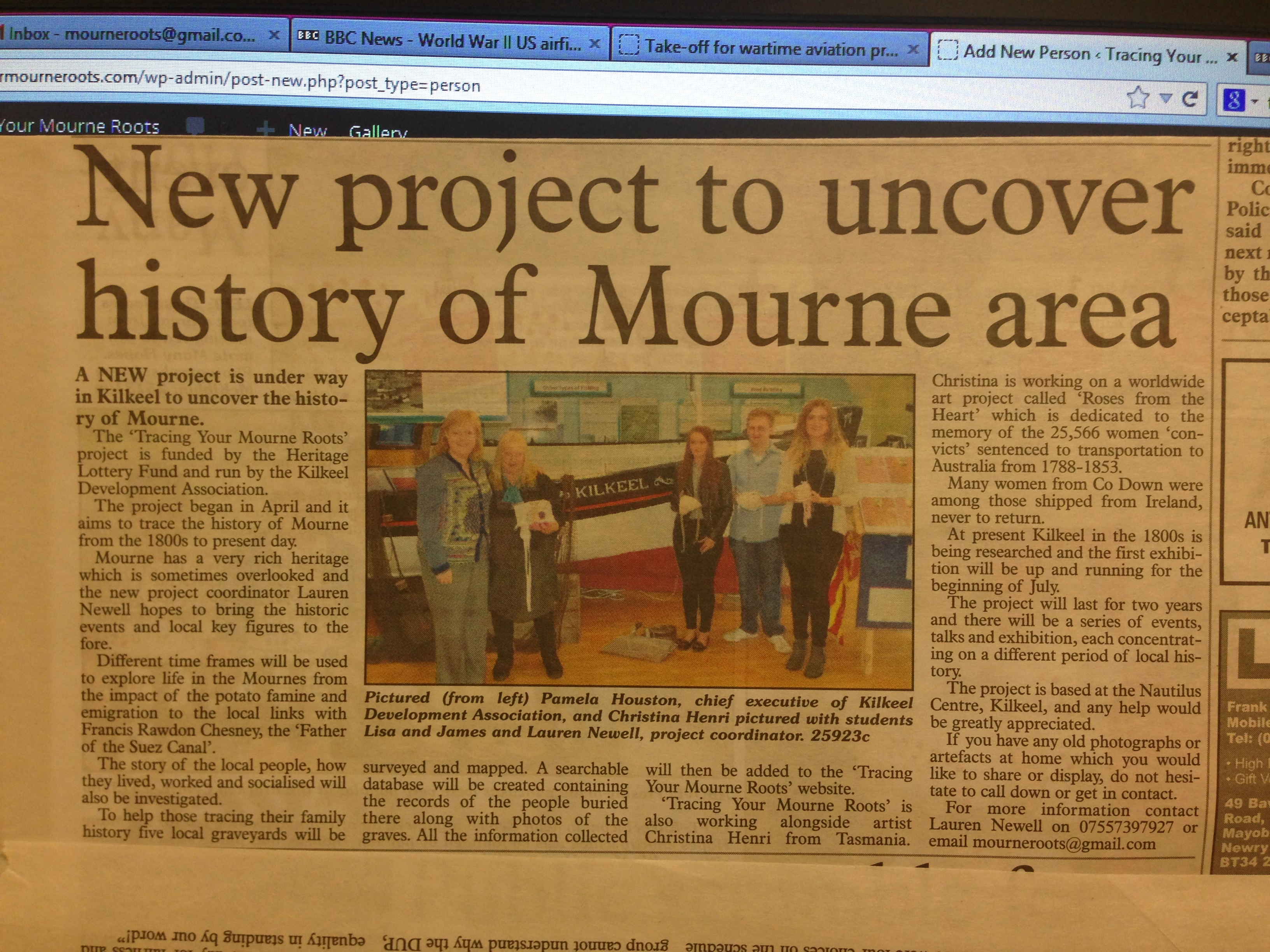 Article in local paper The Outlook to publicise the project