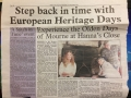 Press release in local paper The Outlook to promote EHODNI with Hanna's Close in September