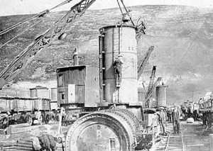 Decompression chamber used for workers diggin the dam cut off trench