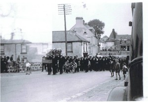 Funeral procession of Captain Campbell coming through Kilkeel Town