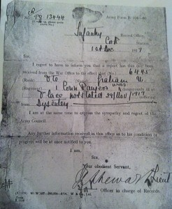 Papers belonging to Uriah Graham, Connaught Rangers 2