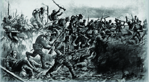 The Battle of Eloi, showing the Royal Irish Fusiliers in action