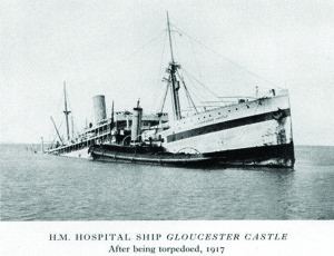 The Gloucester Castle, a hosptial ship which was torpedoed in 1917. This is most likely the ship Dr Floyd was on