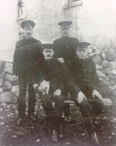 The Silent Valley police squad 1926. Seated is Sergeant William Bullick and Constable Lawless