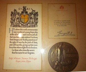 William Thomas McKnight's plaque and medal from King George
